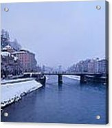 Panorama Of Salzburg In The Winter Acrylic Print