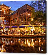Panorama Of San Antonio Riverwalk At Dusk - Texas Acrylic Print