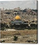 Panorama Of The Temple Mount Including Al-aqsa Mosque And Dome Acrylic Print