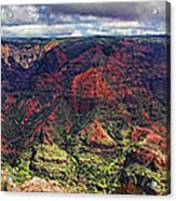 Panorama Of Waimea Canyon Hawaii Acrylic Print by David Smith