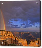 Panorama Rainbow Over Cape Royal North Rim Grand Canyon National Park Acrylic Print