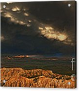Panorama Storm Clouds Over Bryce Canyon National Park Utah Acrylic Print