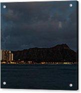 Panorama - Waikiki And Diamond Head In Honolulu Hawaii Skyline At Night Acrylic Print