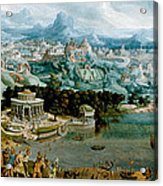 Panorama With The Abduction Of Helen Amidst The Wonders Of The Ancient World Acrylic Print