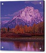 Panoramic Fall Morning Oxbow Bend Grand Tetons National Park Wyoming Acrylic Print