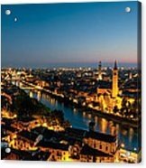 Panoramic Of Verona At Dusk Acrylic Print