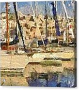 Panoramic Painting Of Mikrolimano Acrylic Print