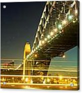 Panoramic Photo Of Sydney Harbour Bridge Night Scenery Acrylic Print