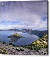 Panoramic View Of Crater Lake And Wizard Island Acrylic Print