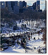 Panoramic View Of Ice Skating Wollman Acrylic Print