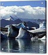 Panoramic View Of Icebergs And Glaciers Acrylic Print