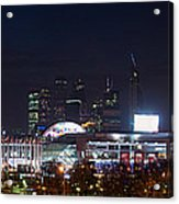 Panoramic View Of Kiev Railroad Station And Europe Square At Night Acrylic Print