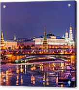 Panoramic View Of Moscow River And Moscow Kremlin  - Featured 3 Acrylic Print