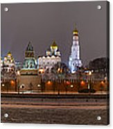 Panoramic View Of Moscow River And Moscow Kremlin In Wintertime Acrylic Print