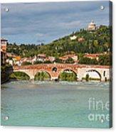 Panoramic View Of Ponte Pietra In Verona Acrylic Print