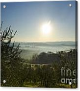Panoramic View Over The Foggy Field Acrylic Print
