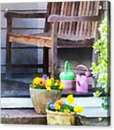 Pansies And Watering Cans On Steps Acrylic Print
