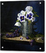 Pansies In A Tin Can Acrylic Print