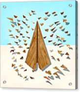 Paper Airplanes Of Wood 10 Acrylic Print
