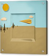 Paper Airplanes Of Wood 12 Acrylic Print