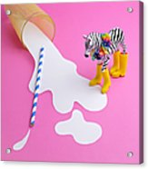 Paper Craft Glass Of Spilled Milk With Acrylic Print