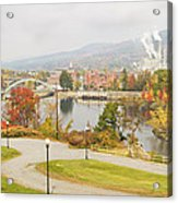 Paper Mill And Fall Colors In Rumford Maine Acrylic Print