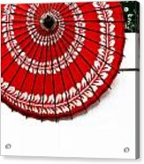 Paper Umbrella With Swirl Pattern On Fence Acrylic Print by Amy Cicconi