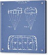 Parachute Design Patent From 1964 - Light Blue Acrylic Print