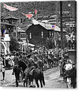 Parade Bisbee Arizona July 4th 1909 Color Added 2013 Acrylic Print