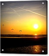 Paragliders At Sunset Acrylic Print