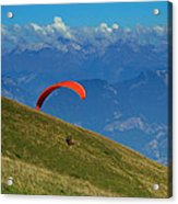 Paragliding In The Mountains Acrylic Print