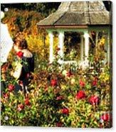 Parasol In Rose Garden Acrylic Print