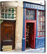 Paris Architecture Brown Door And Wine Shop - Paris Resto Cave A Vins Street Shoppe  Acrylic Print by Kathy Fornal
