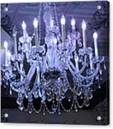 Paris Blue Crystal Chandelier Sparkling Chandelier Art - Paris Blue Shimmering Chandelier Art Deco  Acrylic Print by Kathy Fornal