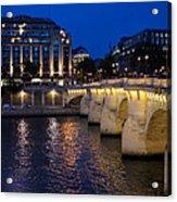 Paris Blue Hour - Pont Neuf Bridge And La Samaritaine Acrylic Print