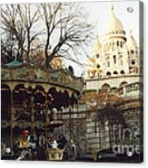 Paris Carousel Merry Go Round Montmartre - Carousel At Sacre Coeur Cathedral  Acrylic Print