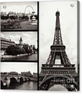 Paris Collage - Black And White Acrylic Print