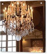 Paris Crystal Chandelier - Paris Rodin Museum Chandelier - Sparkling Crystal Chandelier Reflection Acrylic Print
