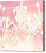 Paris Dreamy Ethereal Chandelier Art - Dreamy Pink Bokeh Sparkling Paris Chandelier Art Deco Acrylic Print by Kathy Fornal