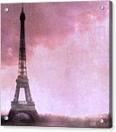 Paris Dreamy Pink Eiffel Tower Abstract Art - Romantic Eiffel Tower With Pink Clouds Acrylic Print