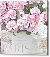 Paris Pink Flowers, Parisian Shabby Chic Paris Flower Box - Paris Floral Decor Acrylic Print