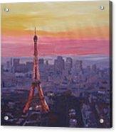 Paris Eiffel Tower At Dusk Acrylic Print
