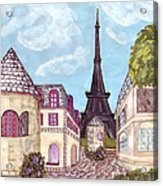 Paris Eiffel Tower Inspired Impressionist Landscape Acrylic Print