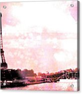 Paris Eiffel Tower Pink - Dreamy Pink Eiffel Tower With Hot Air Balloon Acrylic Print