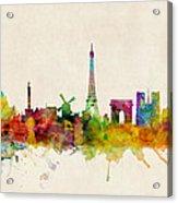 Paris France Skyline Panoramic Acrylic Print