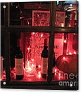 Paris Holiday Christmas Wine Window Display - Paris Red Holiday Wine Bottles Window Display  Acrylic Print by Kathy Fornal