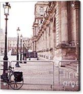 Paris Louvre Museum Street Lamps Bicycle Street Photo - Paris Romantic Louvre Architecture  Acrylic Print