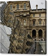 Paris - Louvre Reflecting In The Pyramid  Acrylic Print