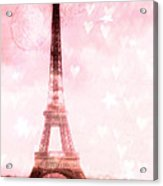 Paris Pink Eiffel Tower - Shabby Chic Paris Dreamy Pink Eiffel Tower With Hearts And Stars Acrylic Print