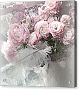 Paris Pink Impressionistic French Roses And Ranunculus - Shabby Chic Romantic Pink Flowers Acrylic Print